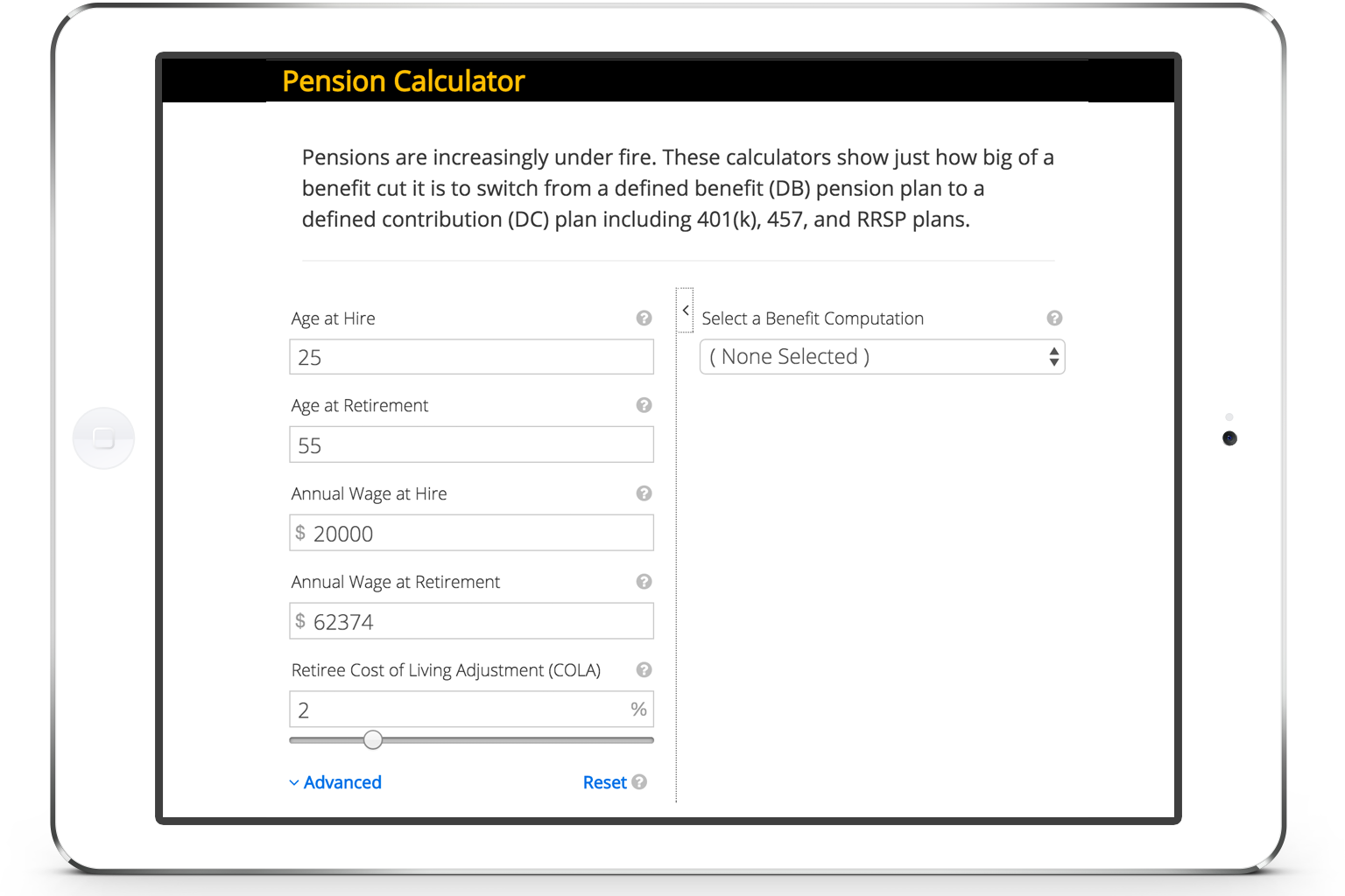 Pension Calculator screenshot